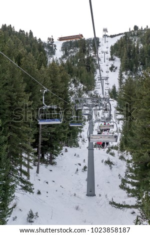 Bansko, Bulgaria - January 8, 2018: Bansko ski resort on Pirin Mountains in Bulgaria. Famous place for winter sports, donwhill skiing especially. Beautiful nature.