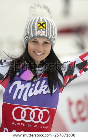 BANSKO, BULGARIA -  MARCH  2, 2015: Anna Fenninger (AUT)  takes 1st place during the Audi FIS Alpine Ski World Cup Ladies' Super G on MARCH  2, 2015 in Bansko, Bulgaria