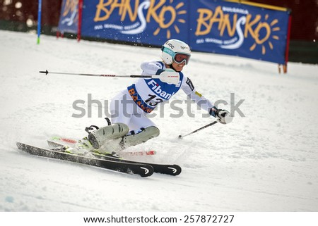 BANSKO, BULGARIA - MARCH  1, 2015: Julia Mancuso (USA) competes in the Audi FIS Alpine Ski World Cup Ladies' alpine combinedon MARCH  1 ,2015 in Bansko, Bulgaria