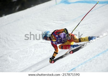 BANSKO, BULGARIA - MARCH  2, 2015: Marie-Mishele Gagnon (CAN) competes in the Audi FIS Alpine Ski World Cup Ladies' Super G on MARCH  2 ,2015 in Bansko, Bulgaria - stock photo