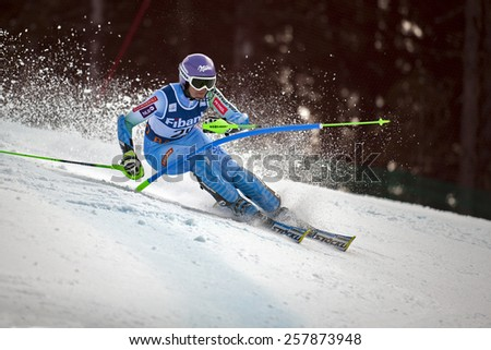 BANSKO, BULGARIA - MARCH 1, 2015: Tina Maze (SLO)  takes second place during the Audi FIS Alpine Ski World Cup Ladies' alpine combined onMarch 1,2015  in Bansko, Bulgaria - stock photo