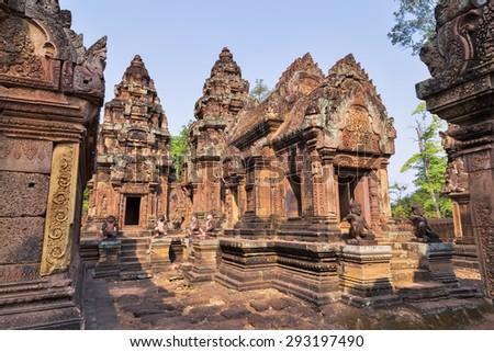 Banteai Srei temple, the temple of women, near Angkor wat, Siem Reap, Cambodia - stock photo