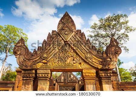 Banteay Srei castle, The most beautiful ancient castle in Cambodia  - stock photo