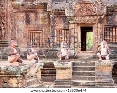 Banteay Srei in Angkor - Siem Reap, Cambodia - stock photo