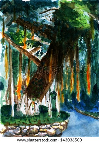 banyan painting watercolor on paper