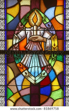 Baptism, Seven Sacraments, Stained glass - stock photo