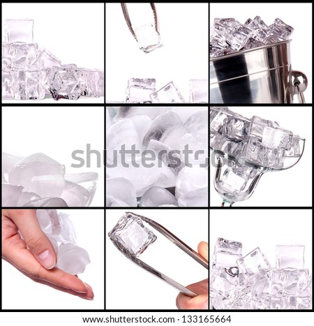 bar accessories with ice background set