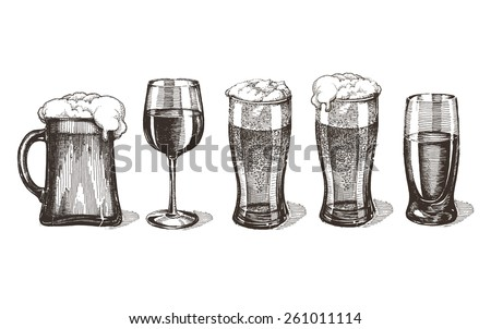 bar alcoholic drinks on a white background. sketch - stock photo