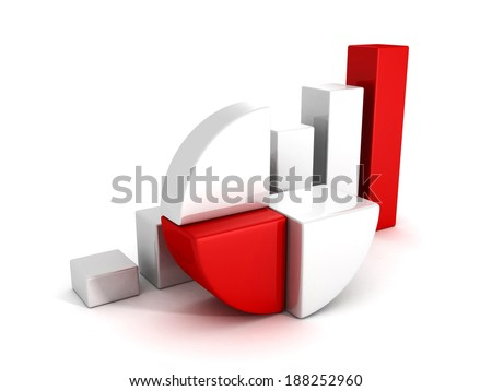 bar and pie grow graph charts on white background. business finance success concept 3d tender illustration - stock photo