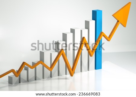 Bar chart and arrow depicting growth of profits