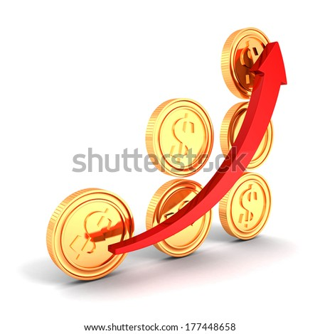 bar chart diagram of golden dollar coins with growing arrow on white background. business success finance profit concept. 3d render. - stock photo