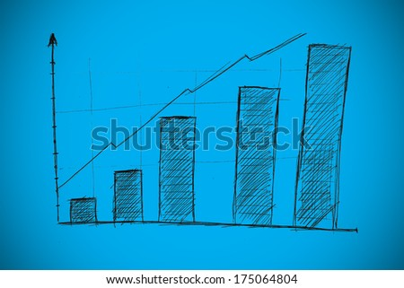 Bar chart doodle against blue background with vignette