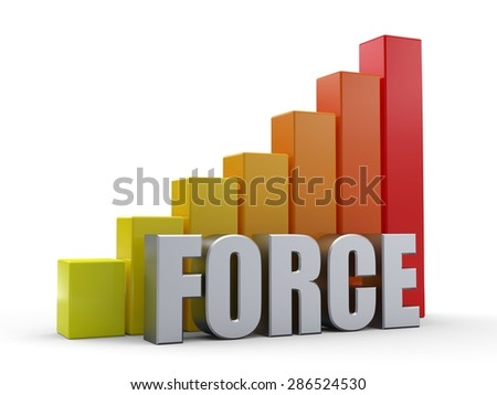 Bar chart in front of the word FORCE silver color - stock photo