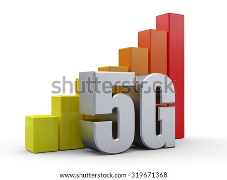 Bar chart in front of the word 5G silver color - stock photo