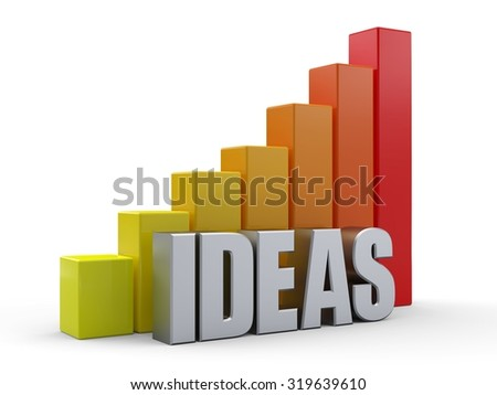 Bar chart in front of the word IDEAS silver color - stock photo