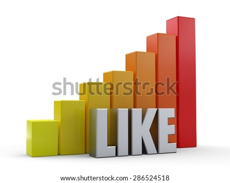 Bar chart in front of the word LIKE silver color - stock photo