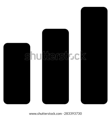 Bar chart increase icon from Basic Plain Icon Set. Style: flat symbol icon, black color, rounded angles, white background. - stock photo