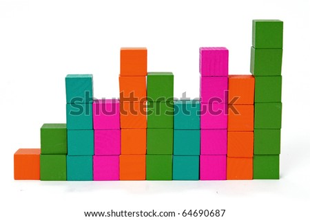 Bar chart made with multicolored blocks - stock photo