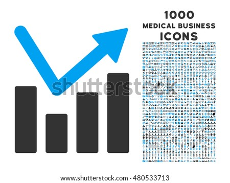 Bar Chart Trend glyph bicolor icon with 1000 medical business icons. Set style is flat pictograms, blue and gray colors, white background.