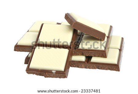Bar chocolate on a white background.