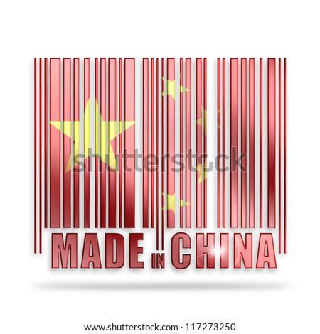 bar code made in china - stock photo