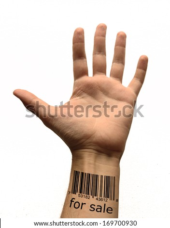 bar code on hand - stock photo