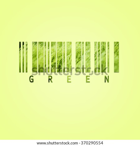 Bar code with fresh green grass on green background - stock photo