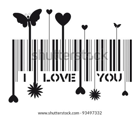 Bar code with i love you message, vector illustration - stock photo