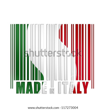 bar code with italian flag colors on white background - stock photo