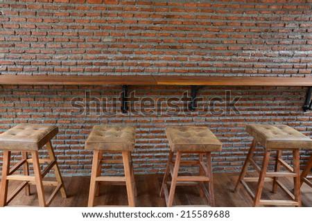 Bar counter and Bar stools - stock photo