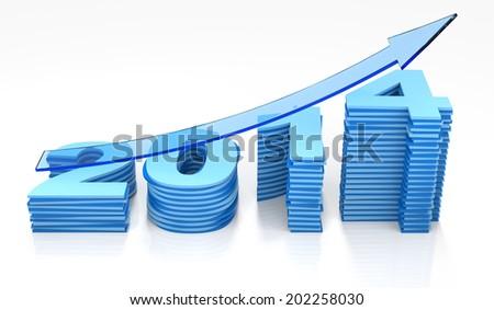 Bar Graph 2014 - stock photo