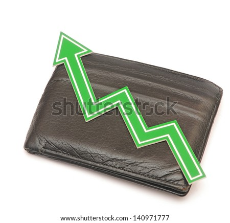 Bar graph of growth on black wallet