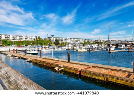 Bar Harbor in summertime, Des Miens, WA - stock photo