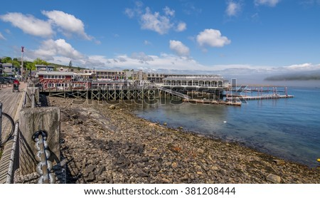 Bar Harbor is a town on Mount Desert Island, Maine, United States.  Bar Harbor is a popular tourist destination  Bar Harbor is home to the largest parts of Acadia National Park. - stock photo
