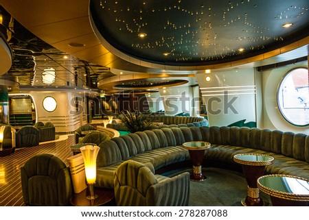 Bar interior on cruise liner Splendida MSC - stock photo