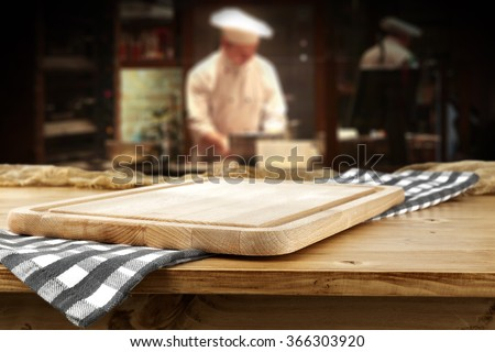 bar interior with chef of kitchen and desk and napkin  - stock photo