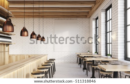 Bar Interior With Counter, Stools And Square Tables. Vertical Poster On  White Brick Wall