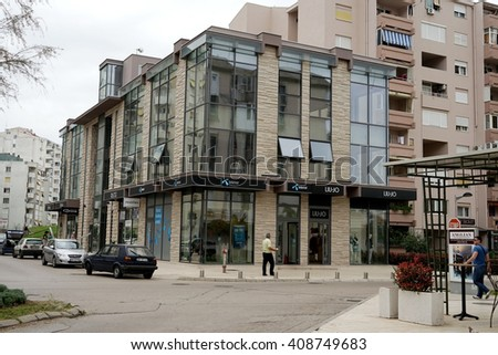 Bar, Montenegro, April, 08, 2016: Center of the town, building of the office of Telenor - most popular mobile operator in Montenegro
