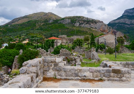 BAR, MONTENEGRO - SEPTEMBER 24, 2015: Unknown tourists are visiting the ruins of an ancient fortress in Old Bar, Montenegro