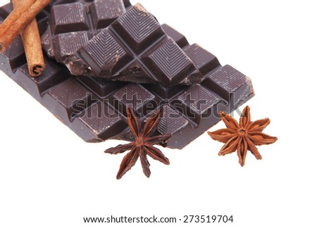 bar of dark chocolate isolated on white background - stock photo