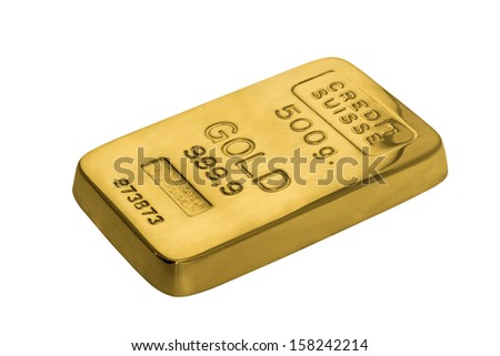 Bar of gold - 500g (Isolated) - stock photo