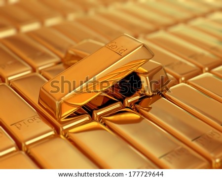 Bar of Gold on other bars of gold - stock photo