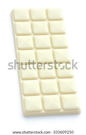 bar of white chocolate isolated on white - stock photo