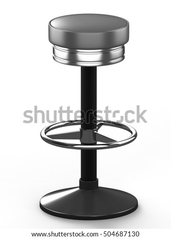 Bar stool with cast-iron base and leather seat, isolated on white background. 3D illustration.