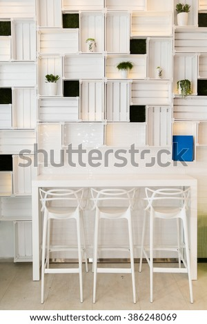 Bar Stools In Modern Caffe Or Home Kitchen Wall. Nice Hotel Lounge Bar With  White