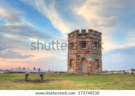 Barack Tower was erected around 1820 where soldiers stood watch for smugglers and stray ships.  It later became a customs tower and now is disused heritage building  located in a public park. - stock photo
