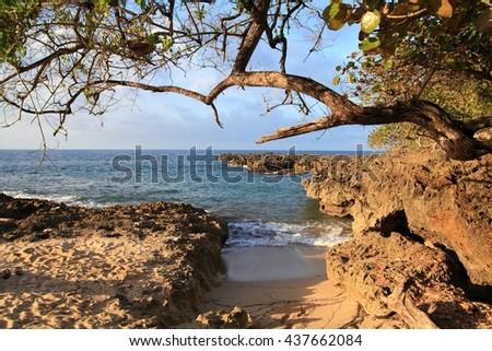 Baracoa, Cuba - turquoise sea bay and small beach. Landscape in February. - stock photo