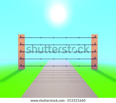 Barb Wire Fence against blue sky. illustration - stock photo