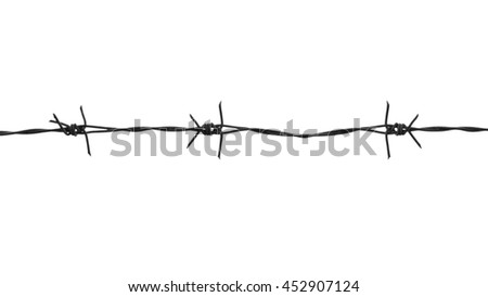 Barb wire fence isolated on white background