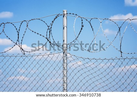 Barb wire fence set erected on the border of Croatia and Slovena during refugee crisis to prevent refugees to illegally enter the country